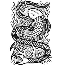 fish snake vector image