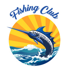 fishing club colorful emblem vector image
