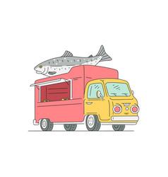 Fresh sea food mobile restaurant truck sketch vector