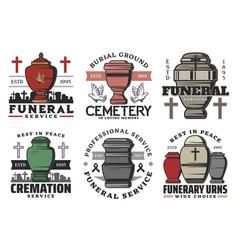 Funeral service funerary urn columbarium vector
