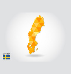 geometric polygonal style map of sweden low poly vector image