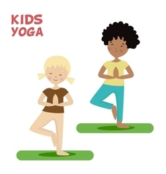 Girl and boy are engaged in a kids yoga Sports or vector