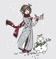 Girl and snowman vector