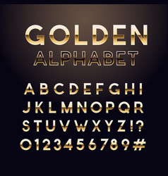 golden glossy font english alphabet and numbers vector image