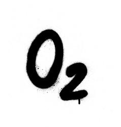Graffiti o2 oxygen formula sprayed in black vector