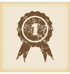 Grungy first place icon vector