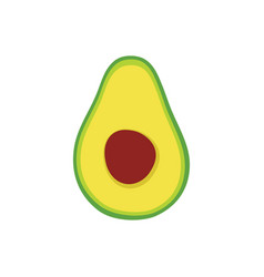 Half avocado isolated on white background vector