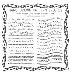 hand drawn decorative paintbrushes set vector image