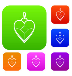 heart shaped pendant set color collection vector image