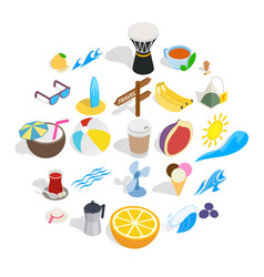 holiday in ankara icons set isometric style vector image