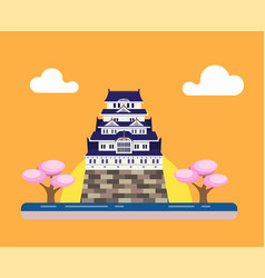 japanese traditional castle with sakura tree vector image
