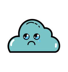 Kawaii cute sad cloud weather vector