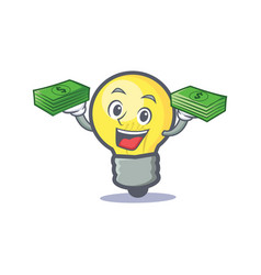 light bulb character cartoon with money vector image