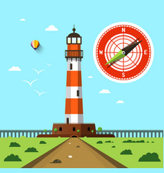 lighthouse with compass on sky flat design vector image