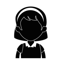 little girl student with uniform character vector image