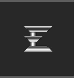 logo e letter monogram mockup peaked form from vector image