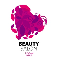 logo heart of red leaves to the beauty salon vector image