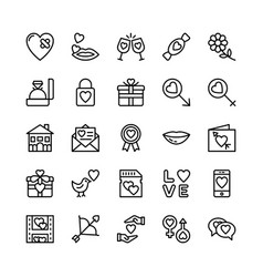 Love and valentine line icons 11 vector