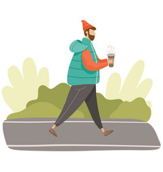 male character in warm clothes drinking hot coffee vector image