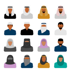 middle eastern people icons in flat style vector image