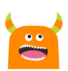 monster scary screaming face head icon eyes vector image