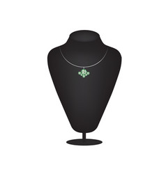 necklace with emerald vector image