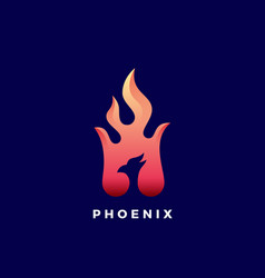 Negative space phoenix flame abstract sign vector