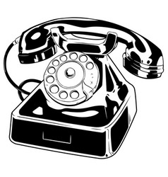 Old phone line art vector