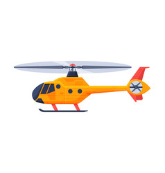 orange helicopter aircraft flying chopper air vector image