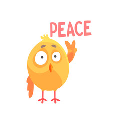 Piece funny cartoon comic chicken showing peace vector