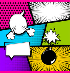 Pop art strip comic text speech bubble bomb vector