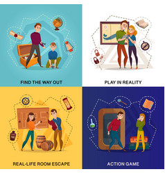 Quest game reality cartoon concept vector