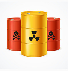 realistic 3d detailed radioactive waste barrels vector image