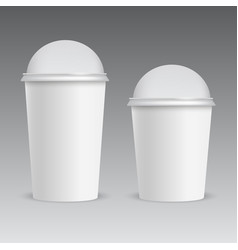 realistic plastic cup with dome cap vector image