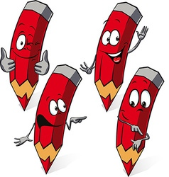 red pencil - funny cartoon vector image