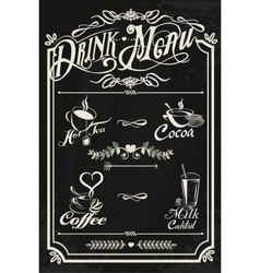 Restaurant drink menu design with chalkboard vector