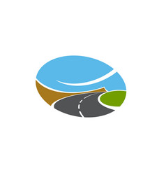 Road pathway or highway isolated icon vector