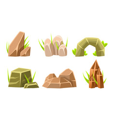 rocks and boulders with grass set summer vector image