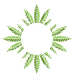 round frame with green leaves marijuana with vector image