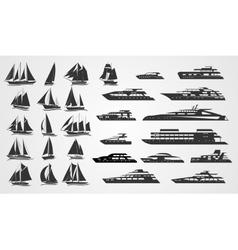 Sailing and motor yachts vector