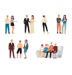 set characters - family at different ages flat vector image