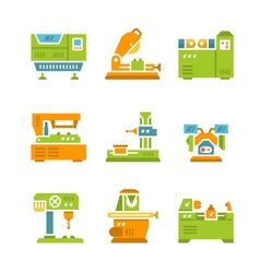 Set flat icons of machine tool vector image