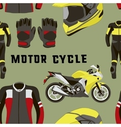 Set of motorcycle accessories pattern vector