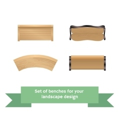 Set of wooden benches vector