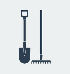 shovel and rake icon design vector image