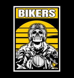 skull bikers wearing helmet hand drawing vector image