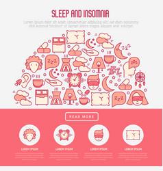 Sleep and insomnia concept in half circle vector
