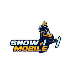 snow mobile logo template vector image