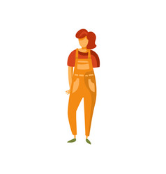 Stylish girl in overalls fashionable young woman vector