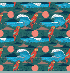 summer seamless pattern with colorful parrot vector image
